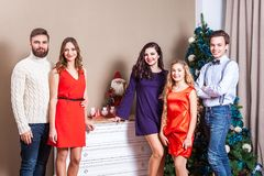 Christmas party. Group of young adult friends enjoying christmas time. Christmas party. Group of young adult friends enjoying christmas time, have fun and royalty free stock images