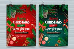 Christmas party and Happy New Year design templates, Holiday posters with Christmas decoration, vector illustration