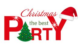 Christmas Party header with Christmas Tree and Santa hat isolated. On white background. Vector illustration Royalty Free Stock Image
