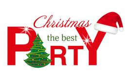 Christmas Party header with Christmas Tree and Santa hat isolated on white background. Vector. Illustration Stock Photo