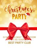 Christmas party holiday poster card. Party invitation banner with bow and bokeh background.  vector illustration