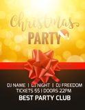 Christmas party holiday poster card. Party invitation banner with bow and bokeh background.  royalty free illustration