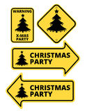 Christmas Party Humourous Yellow Road Arrow Signs Set. Vector illustrations Stock Image