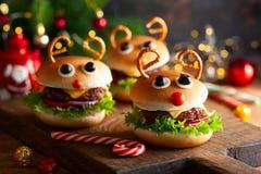Kids Christmas burger Reindeer Sloppy Joe royalty free stock photos