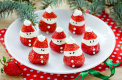 Christmas party ideas for kids - strawberry santa, strawberry ma Royalty Free Stock Image