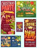 Christmas party invintation vector card background design template for noel Xmas holiday celebration clipart New Year. Colors printable party poster. Bow stock illustration