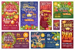 Christmas party invitation vector card background design template for noel Xmas holiday celebration clipart New Year Stock Photos