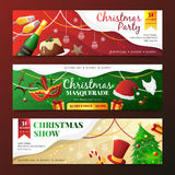 Christmas Party Invitation Banners. Colorful flat design christmas party and masquerade invitation banners with new year symbols isolated on dark background Stock Photos