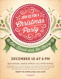 Christmas Party Invitation with a Big Red Label. Christmas party invitation with ornaments, label and ribbon. Vector format