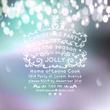 Christmas party invitation on bokeh background. typography and ornament decoration. Christmas holidays flyer or poster design. Nor Stock Photos