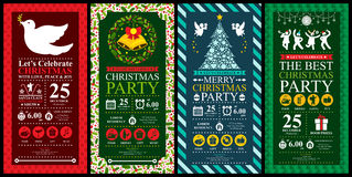 Christmas Party Invitation Card sets Stock Photography