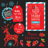Christmas party invitation, food menu restaurant. vector illustration