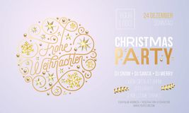 Christmas party invitation for German Frohe Weihnachten holiday celebration design template. Vector New Year or Xmas corporate par. Ty invitation flyer of golden Stock Photos