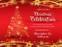 Christmas party invitation with gold decorative tree. Christmas party invitation with Ornate golden Christmas tree on red background - Possible to create holiday Stock Photo