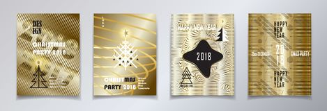 2018 Christmas party invitation gold set. 2018 vector illustration, Happy new year and christmas winter holiday party invitation, brochure, poster, flyer Stock Images