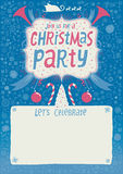 Christmas Party invitation, greeting card, poster or background with hand lettering typography. Royalty Free Stock Photo