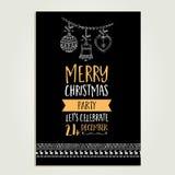 Christmas party invitation. Holiday card. Stock Photo