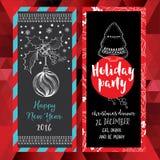 Christmas party invitation. Holiday card. Stock Photos