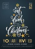 Merry Christmas party poster banner vector golden decoration snowflake New Year background royalty free illustration