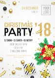 Christmas party 2018 invitation poster for 24 December winter holiday celebration. Vector golden Christmas and New Year gold glitt Stock Photos