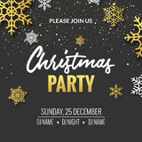 Christmas party invitation poster design. Retro gold typography. And ornament decoration illustration. Xmas holiday flyer or poster design template royalty free illustration