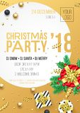Christmas 2018 party invitation poster design template for December night celebration. Vector present gift and golden ribbon bow o Royalty Free Stock Photo