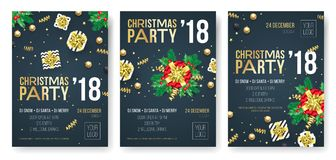 Christmas party invitation poster design template for winter holiday December 2018 celebration night. Vector present gift in golde Royalty Free Stock Photos