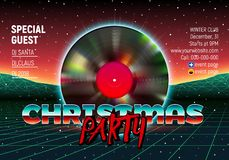 Christmas party invitation poster or flyer with 80s neon style and vinyl lp for dj. Christmas party invitation poster or flyer with vinyl lp for dj and retro 80s royalty free illustration