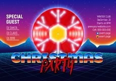 Christmas party invitation poster or flyer with 80s neon style and vinyl lp for dj. Christmas party invitation poster or flyer with vinyl lp for dj and retro 80s Vector Illustration
