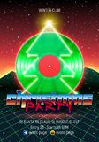 Christmas party invitation poster or flyer with 80s neon style and vinyl lp for dj. Christmas party invitation poster or flyer with vinyl lp for dj and retro 80s stock illustration