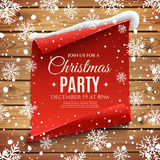 Christmas party invitation poster. Red, curved, paper banner on wooden planks, with snow and snowflakes. Vector illustration Royalty Free Stock Image