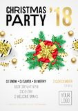 Christmas party invitation poster template for 24 December 2018 winter holiday night celebration. Vector golden Christmas star and Royalty Free Stock Photography