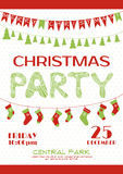 Christmas party invitation poster template Royalty Free Stock Photography