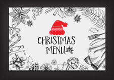 Christmas party invitation restaurant. Food flyer. Royalty Free Stock Photo