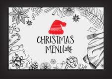 Christmas party invitation restaurant. Food flyer. Royalty Free Stock Photo