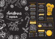 Christmas party invitation restaurant. Food flyer. Stock Photo