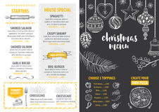 Christmas party invitation restaurant. Food flyer. Stock Photography