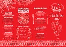 Christmas party invitation restaurant. Food flyer. vector illustration