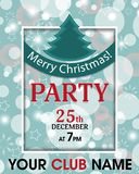 Christmas party invitation retro template background with ribbon and fur-tree. Vector Royalty Free Stock Images