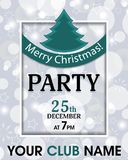 Christmas party invitation retro template background with ribbon and fur-tree. Vector Royalty Free Stock Photography