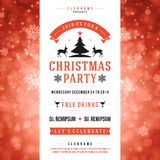 Christmas party invitation retro typography  illustation Stock Image