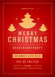 Christmas party invitation retro typography and Stock Photos