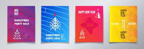 2018 Christmas party invitation set. 2018 vector illustration, Happy new year and christmas winter holiday party invitation, brochure, poster, flyer, greeting Stock Image