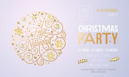 Christmas party invitation for Spanish Feliz Navidad holiday celebration design template. Vector New Year or Xmas corporate party stock illustration