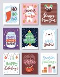 Christmas party invitation vector card design template for noel Xmas holiday celebration clipart New Year Santa Claus. Christmas party invitation vector card Royalty Free Stock Photography