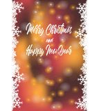 Christmas party invitation winter holiday card with snowflake ,Bokeh red background,. Merry Christmas and Happy New Year Card,Christmas party invitation winter Royalty Free Stock Photo