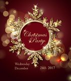 Christmas party invitationwith Shining Gold Snowflake. Christmas holidays flyer or poster design. Vector. Stock Photo