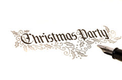 Christmas Party Invite. Calligraphy of christmas party invitation Royalty Free Stock Images