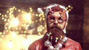 Christmas party. Make funny face. Santa Claus. New year gift. Expression and people concept - man with funny face over. Christmas background. Christmas funny stock video footage