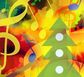 Christmas party music background. Christmas background with dancing music notes and christmas tree vector illustration